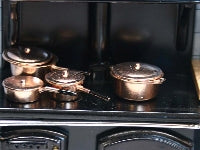 Dolls House Miniature Set Of 4 Copper Pans, Kitchen - The Dolls House Store