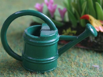 Dolls House Miniature Green Round Watering Can, Garden - The Dolls House Store
