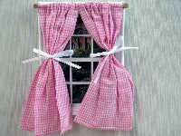 Dolls House Miniature Pink Gingham Curtains, Curtains - The Dolls House Store