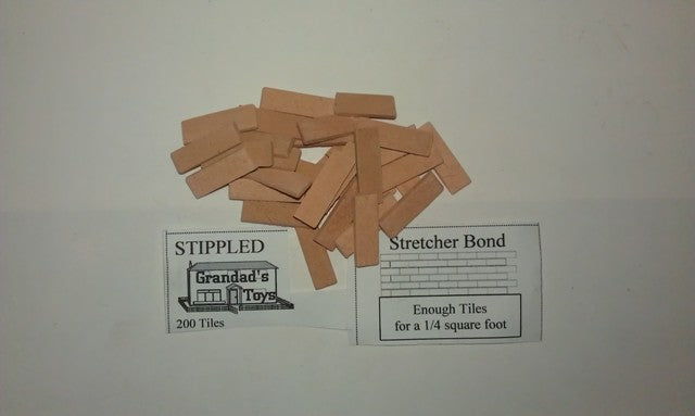 Dolls House Miniature Stippled Stretcher Bond Pink Tiles 200PK, Bricks & Tiles - The Dolls House Store