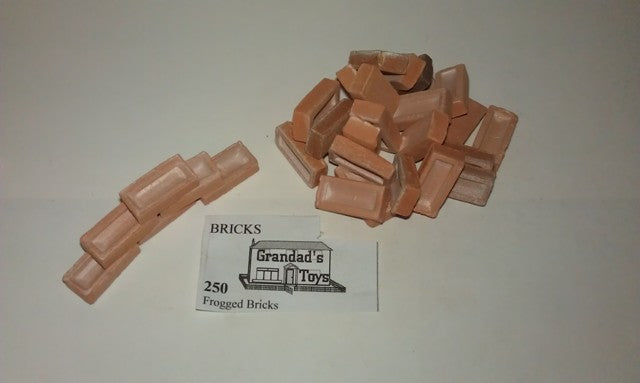 Dolls House Miniature Frogged Bricks Terracotta 250PK, Bricks & Tiles - The Dolls House Store
