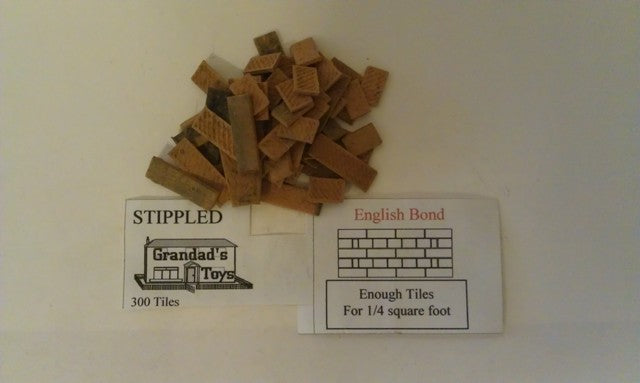 Dolls House Miniature Stippled English Bond Terracotta Black Tiles 300PK, Bricks & Tiles - The Dolls House Store