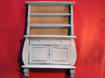Dolls House Miniature Display Unit with Shelves Barewood, Whitewood Furniture - The Dolls House Store