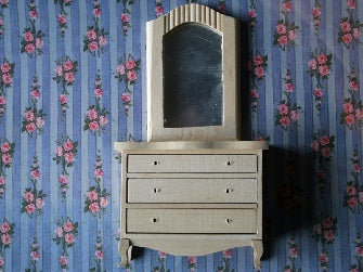Dolls House Miniature Chest of Drawers with Mirror - Bare Wood, Whitewood Furniture - The Dolls House Store