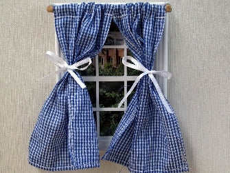 Dolls House Miniature Blue Gingham Curtains, Curtains - The Dolls House Store