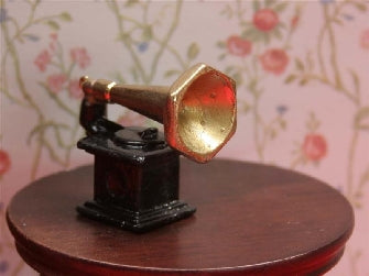 Dolls House Miniature Gramophone Metal, Music Room - The Dolls House Store
