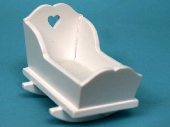 Dolls House Miniature White painted heart cradle, Nursery - The Dolls House Store