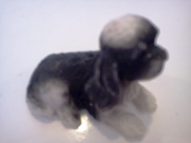 Dolls House Miniature Single Black & White Dog, Pets and Animals - The Dolls House Store