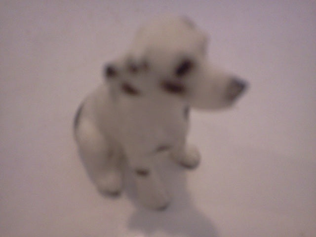 Dolls House Miniature Single Black & White Sitting Spotted Dog, Pets and Animals - The Dolls House Store
