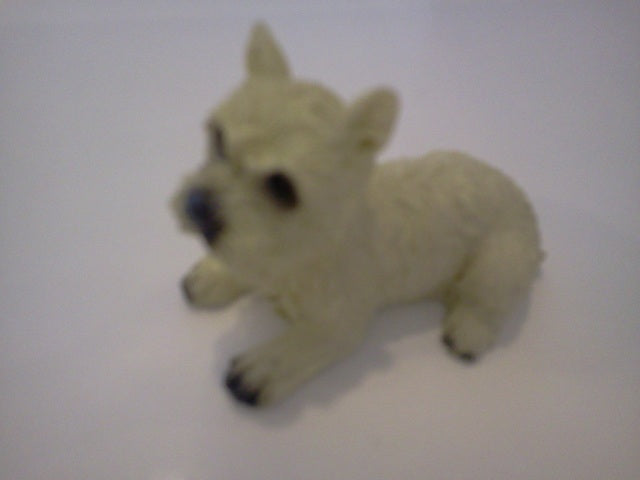 Dolls House Miniature Single Cream Laying Down Dog, Pets and Animals - The Dolls House Store