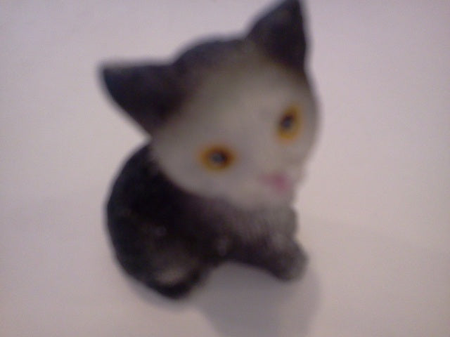Dolls House Miniature Single Kitten Black and White Sitting, Pets and Animals - The Dolls House Store