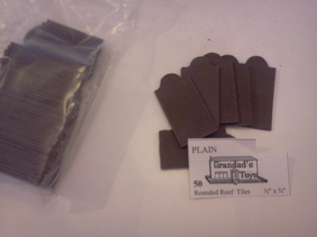 "Dolls House Miniature Plain Rounded Roof Black Tiles 1/2""x3/4"" 50PK, Bricks & Tiles - The Dolls House Store"