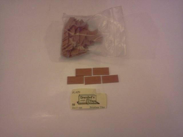 Dolls House Miniature Plain Terrecotta Brickbase Tiles 50pk 22x11mm, Bricks & Tiles - The Dolls House Store