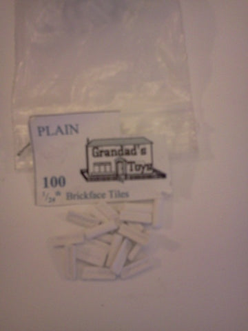 Dolls House Miniature 1/24 Scale Brickface Tiles White 100pk, 1/24th Scale - The Dolls House Store