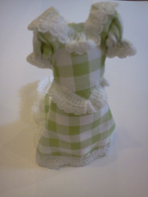 Dolls House Miniature Green Check Bridesmaid Dress, Clothing and Accessories - The Dolls House Store