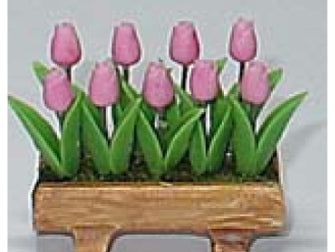 Dolls House Miniature Pink tulips in planter, Garden - The Dolls House Store