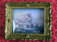 Dolls House Miniature Battle At Sea, Paintings - The Dolls House Store