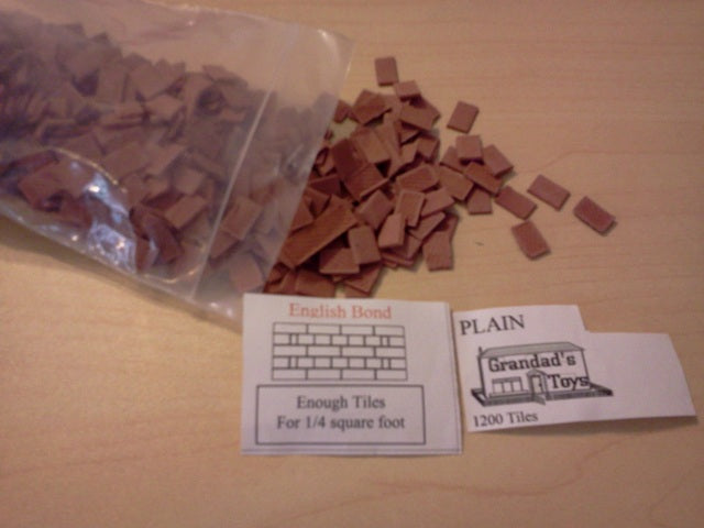 Dolls House Miniature Plain English Bond Tiles Terracotta 1200pk, Bricks & Tiles - The Dolls House Store