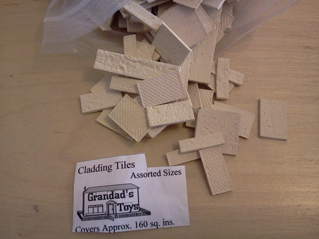 Dolls House Miniature Cladding Tiles Assorted Sizes Off White, Bricks & Tiles - The Dolls House Store