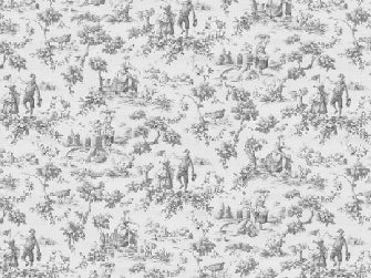 Dolls House Miniature Grey Toile de jouy, Wallpaper - The Dolls House Store