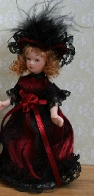 Dolls House Miniature Victorian China Doll In Red, Dolls and Resin Figures - The Dolls House Store