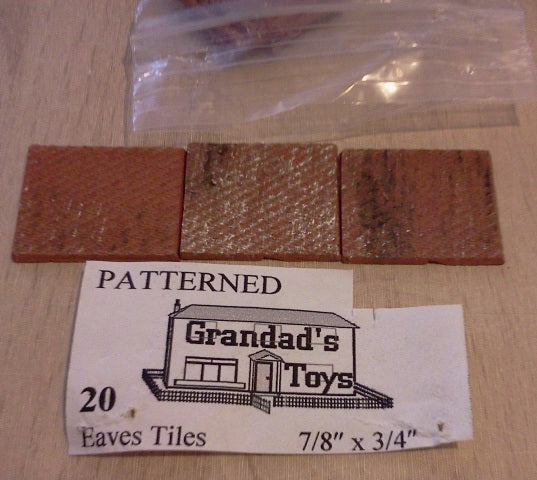 Dolls House Miniature Patterned Weathered Eaves Tiles 20pk, Bricks & Tiles - The Dolls House Store