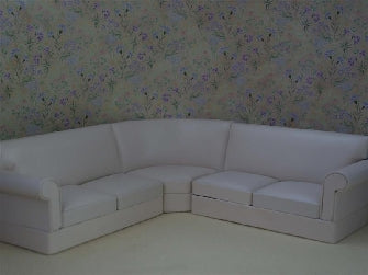 Dolls House Miniature 3Pc Cream Leather Corner Couch Suite, Living Room - The Dolls House Store