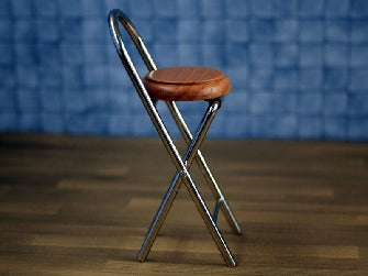 Dolls House Miniature Folding Stool Chrome Legs, Diner and Cafe - The Dolls House Store