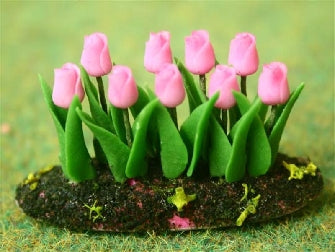 Dolls House Miniature Pink Tulips In Earth, Flowers - The Dolls House Store