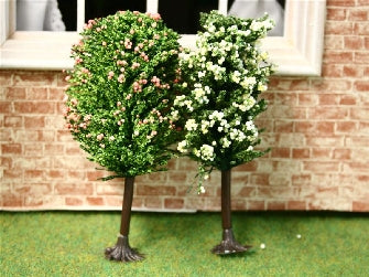 Dolls House Miniature Set Of 2 Blossom Trees, Garden - The Dolls House Store