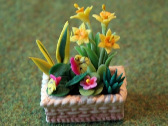 Dolls House Miniature Spring flowers in planter, Flowers - The Dolls House Store