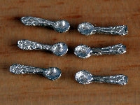 Dolls House Miniature Set Of 6 Tea Spoons, Kitchen - The Dolls House Store