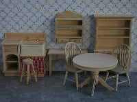Dolls House Miniature Barewood Kitchen 8 pieces, Whitewood Furniture - The Dolls House Store