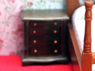 Dolls House Miniature Set Of 2 Chest Of Drawers - Dark Brown, Bedroom - The Dolls House Store