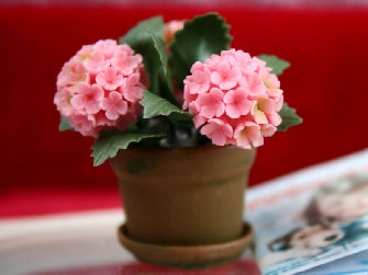 Dolls House Miniature Pink Hydrangea In Aged Pot, Flowers - The Dolls House Store