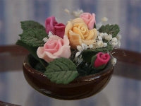 Dolls House Miniature Rose Bowl Mixed, Pots and Planters - The Dolls House Store