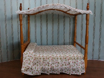 Dolls House Miniature Canopy Bed in Walnut, Bedroom - The Dolls House Store