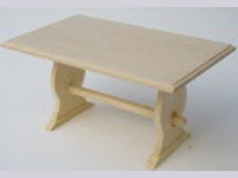 Dolls House Miniature Barewood Table, Whitewood Furniture - The Dolls House Store
