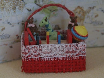Dolls House Miniature Basket With Giraffe And Toys, Nursery - The Dolls House Store