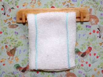 Dolls House Miniature Wooden Shelf and Kitchen Towel, Bathroom - The Dolls House Store