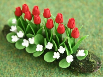 Dolls House Miniature Red Tulips In Earth Large, Garden - The Dolls House Store