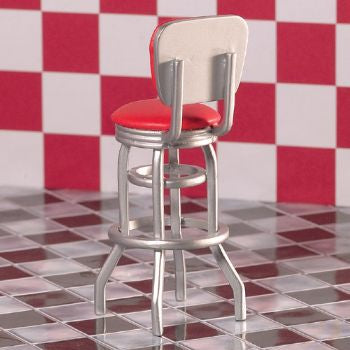 Dolls House Miniature Red Bar Diner Chair, Diner and Cafe - The Dolls House Store