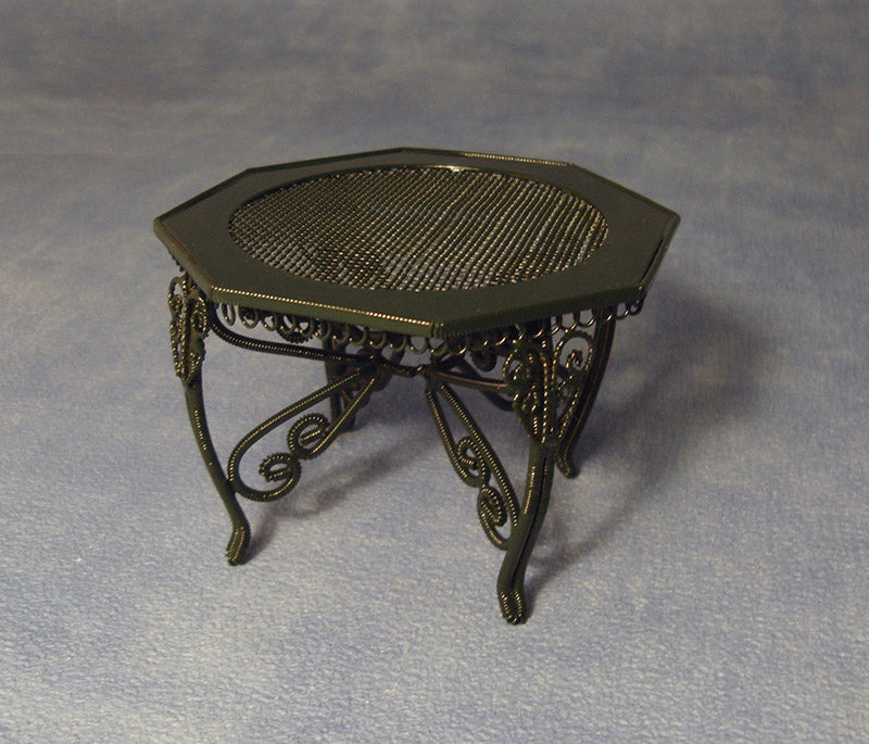 Dolls House Miniature Green Wire Garden Table, Garden - The Dolls House Store