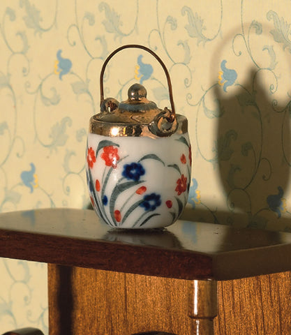 Dolls House Miniature Floral Biscuit Barrel, Kitchen - The Dolls House Store