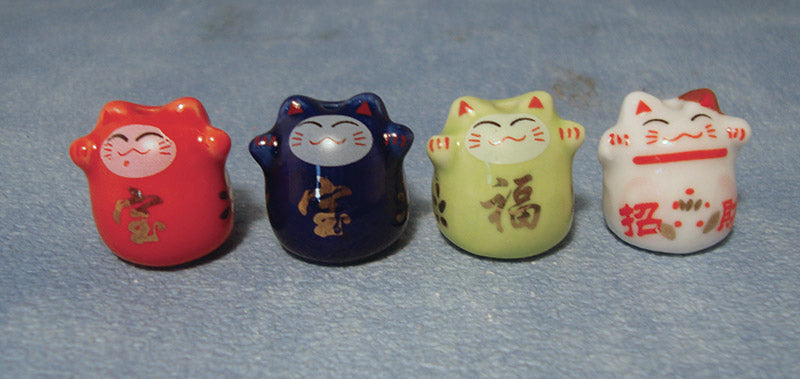 Dolls House Miniature China Lucky Cats pk4, Accessories - The Dolls House Store