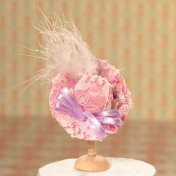 Dolls House Miniature Pink Hat with Lace & Feather Trim, Clothing and Accessories - The Dolls House Store