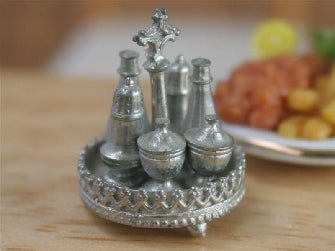 Dolls House Miniature Cruet Set 'Silver' (7 Pcs), Dining Room - The Dolls House Store