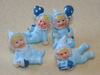 Dolls House Miniature 4 Babies in Blue, Nursery - The Dolls House Store