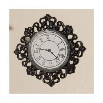 Dolls House Miniature Black Fancy Wall Clock, Clocks - The Dolls House Store