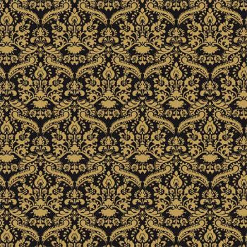 Dolls House Miniature Black Damask Wallpaper 430 x 600mm, Wallpaper - The Dolls House Store